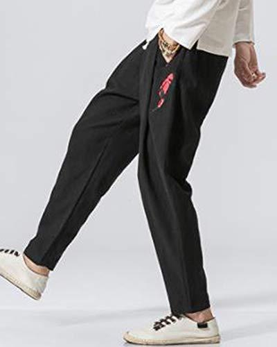 Broderie Pantalon Coton Et Zongsena Décontracté Poisson Lin Grande En Taille Pour Noir Homme De 8qx7dPx