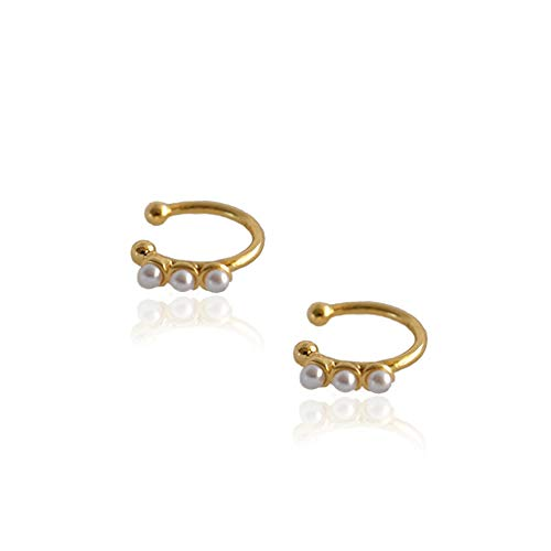 Faux Pearl Crown Cuffs Clip on Earrings for Women Teen Girls 925 Sterling Silver 14K Yellow Gold Plated Charm Hoop Cartilage Crawler Climber Cute Bead Wrap Non Piercing Ear Hypoallergenic Jewelry Gift