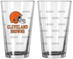 Hall of Fame Memorabilia Cleveland Browns Satin Etch Pint Glass Set