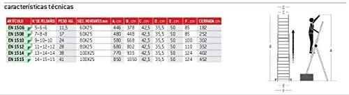 EN 1508. 7+8+8pelda/ños FARAONE LCS ESCALERA PROFESIONAL EN1500