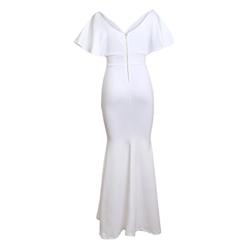 Mujeres Espalda Suave Elegante Homyl l blanco Cómoda Vestido Regalo Fiesta Graduación Sin Muchachas Sensación xwxYIT
