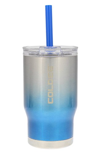 - reduce COLDEE Vacuum Insulated Stainless Steel Kids Tumbler with Straw, 3-in-1 Lid, 14oz - Tasteless and Odorless, BPA Free, Portable & Great for Children (Ombre Design - Blue)