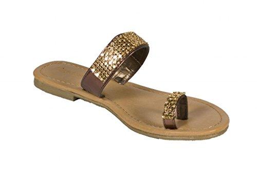 Lustacious Femmes Flip Flop Chaîne Décor Toe Sangle Sandales Plates Bronze