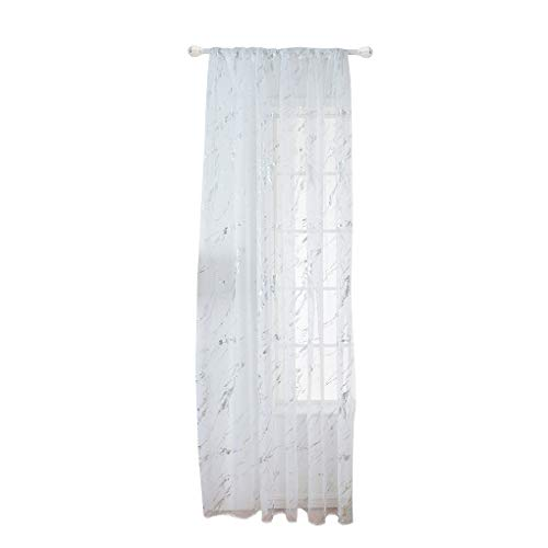 Riverlily Marble Pattern Window Curtain Sheer Divider Panel Semi-Blackout Window Blind Living Room Bedroom Drapes