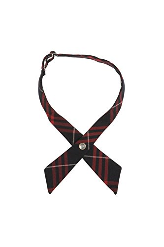 Cotton Cross Tie - French Toast Girls' Adjustable Cross Tie Plaid, Navy & Red, One Size