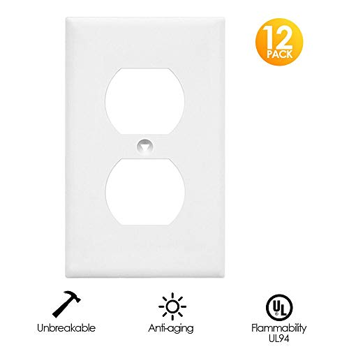 Outlet Covers, White Wall Plates Light Switch Power Plug Cover, 1-Gang Duplex Decorative Electrical Plate Kit, Unbreakable Polycarbonate Material, Standard Size Replacement Faceplates, 12 Pack