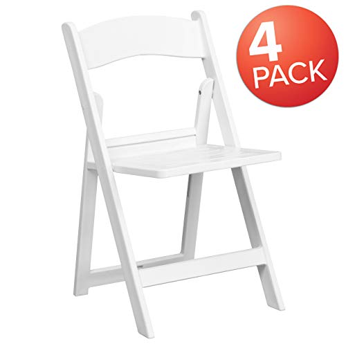 (4 Pk. HERCULES Series 1000 lb. Capacity White Resin Folding Chair with Slatted Seat)