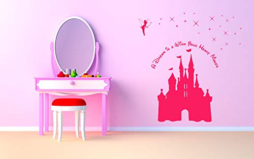 - Wall Decals Princess Castle & Fairy with Quote 'A Dream is a Wish Your Heart Makes' - Wall Decal Sticker Art - Made in USA 128