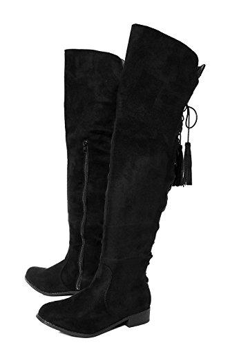 Schwarz Damen Rose Flat Lace Zurück Tassel Lange Leg Boot - 3