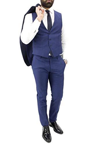 Notte Uomo Smoking Fit Elegante Gilet Modello Papa Abito Tinta Slim Daniele Incluso Da Blu Revers Con Estivo Unita Vestibilità wqgUW4nHS