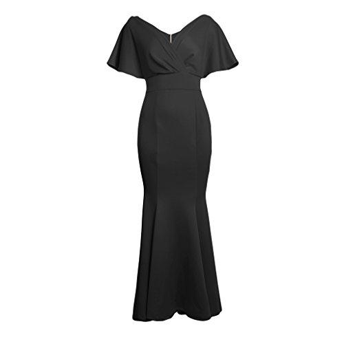 Sensación Elegante m Regalo Muchachas Cómoda Graduación Vestido negro Sin Fiesta Espalda Mujeres Suave Homyl f18AgzwqFx