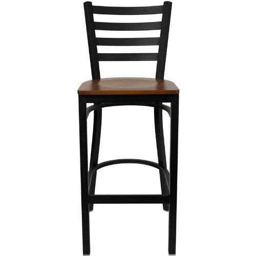 Flash Furniture HERCULES Series Black Ladder Back Metal Restaurant Barstool - Cherry Wood Seat