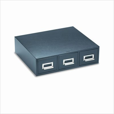 Buddy Products 3 Drawer Card File, Steel, 3 x 5 Inches, Black (1935-4)
