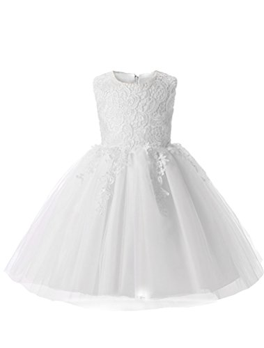 Mallimoda Girl's Lace Tulle Flower Princess Wedding Dress for Toddler and Baby Girl Sleeveless White 4Y]()