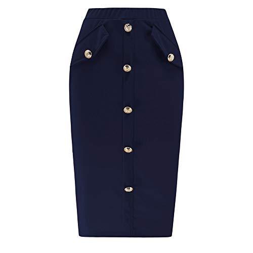 AopnHQ Women's Sexy High Waist Bag Hip Pocket Buckle Mid-Length Skirt Dark Blue