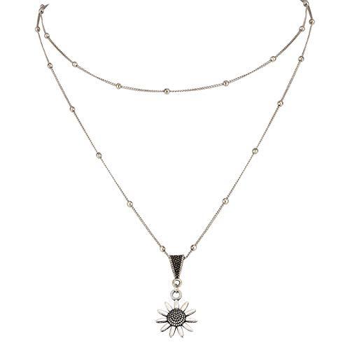 2 Layer Women Boho Simple Silver Chain Sunflower Pendant Choker Necklace Jewelry