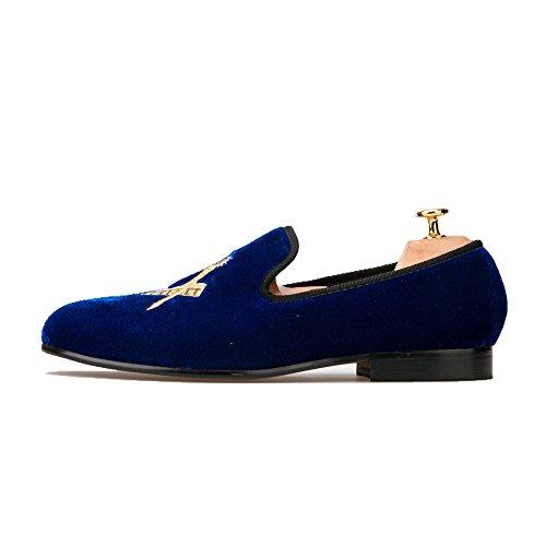 HI&HANN Mens Embroidered Velvet Loafer Shoes Slip-On Loafer Round Toes Smoking Slipper Blue fsfpaUqP