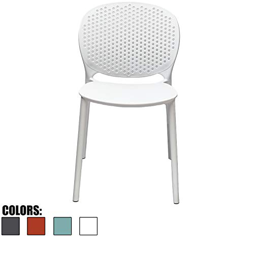 - 2xhome White Contemporary Modern Stackable Assembled Plastic Chair Molded With Back Armless Side Matte for Dining Room Living Designer Outdoor LightWeight Garden Patio Balcony Work Office Desk Kitchen