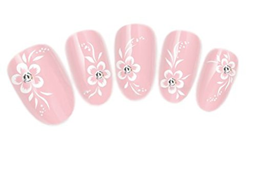 NiceDeco Nail Stickers Nail Tattoo Nail Decal Water Transfers Decals White Hibiscus Flower & (Hibiscus Flower Tattoos)