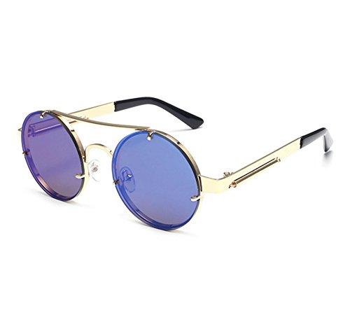 Conduisant UV400 Or Cadre Rond Steampunk Soleil Coloré Keephen de Classique Lunettes Bleu Lunettes Vintage Aqxza