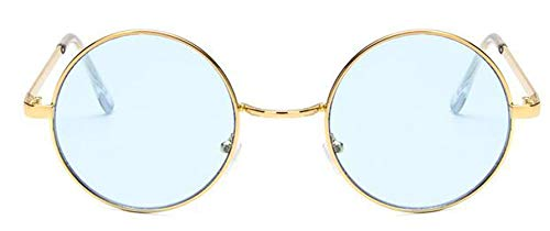 Round Sunglasses Women Red Yellow Blue Green Clear Lens Sun Glasses For Women Small Hip Hop Sunglasses De Sol,Gold ()