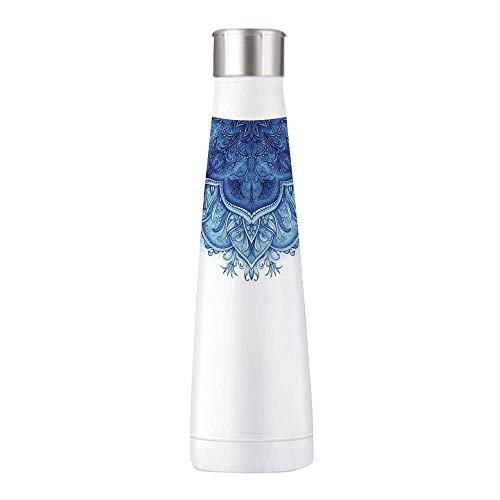 Moroccan Durable Stainless Steel Water Bottle,Floral Artwork Vintage Islamic Architectural Decorative Elements Oriental Pattern For bedroom,2.7