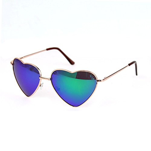 Eyewear Frame Sunglasses (FUNOC Retro Metal Frame Heart Shaped Shape Gradient Sunglasses Eyewear)