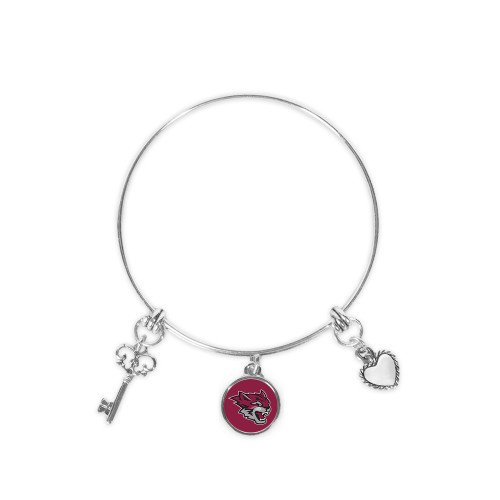CollegeFanGear Chico State Silver Bangle Bracelet with Three Charms 'Wildcat - Head Bracelet Wildcat