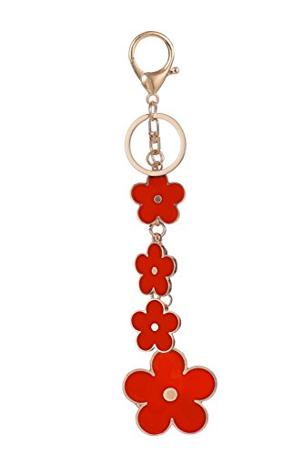Giftale Women's Flower Bag Charms Red Enameled Keychain Purse - Enameled Gold Purse