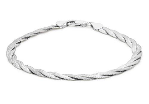 """Or blanc 9carats 3tresse à chevrons Twined Bracelet 19cm/7,5"""""""