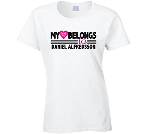 My Heart Belongs To Daniel Alfredsson Ottawa Hockey Player Fan T Shirt M White - Daniel Alfredsson Player