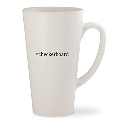 #checkerboard - White Hashtag 17oz Ceramic Latte Mug Cup