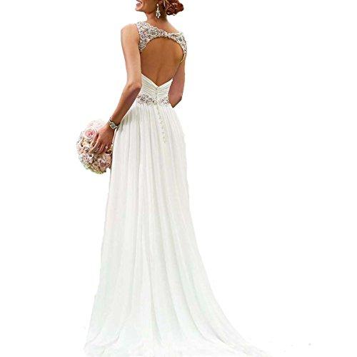 Dannifore Beading Beach Wedding Dresses Open Back Bridal Gowns White Size ()