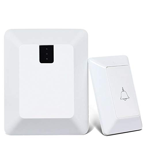 WYMLKUD Wireless Doorbell Wireless Door Bell, LED Flashing Light Cordless doorbell kit, Family Pager, Transmitter (Requires Battery) 100m Transmission Range (Color : White) ()