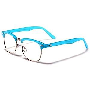 Designer Inspired Classic Colorful Horn Rimmed Frame Clubmaster Sunglasses - UV400 Clear Lens