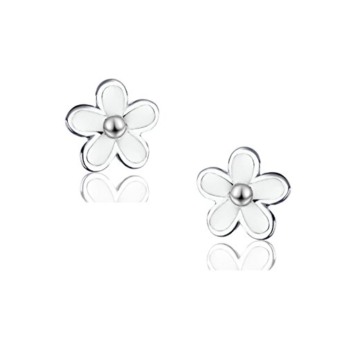 SLUYNZ 925 Sterling Silver Little Daisy Studs Earrings for Teen Girls Petite Flowers - Flower Silver Earrings Daisy Sterling