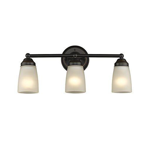 Chloe Lighting CH2Z051BZ21-BL3 Hemsworth Transitional 3 Bronze Bath Vanity Wall Fixture White Frosted Glass 21.5