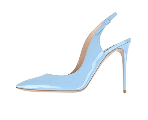 EDEFS Womens Pointed Toe Slingback Court Shoes Ankle Strap Pumps BabyBlue