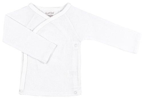 Kushies Unisex-baby Newborn Everyday Layette Long-Sleeve Wrap Tee, White, Preemie