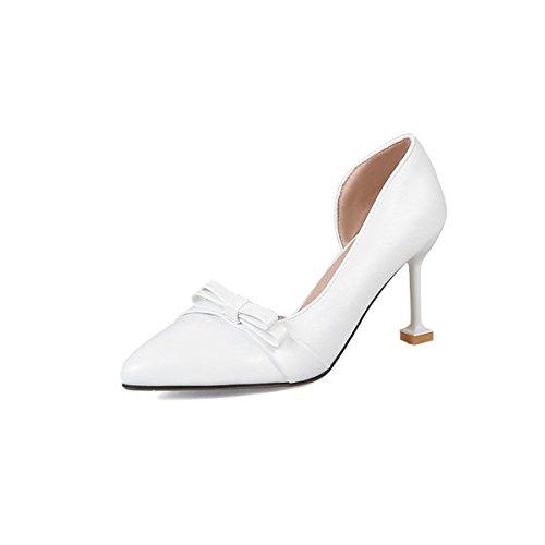 Estate Casual Tacchi per Heel Rosa Abbigliamento Donna Similpelle Stiletto Scarpe Punta Bianco Comfort Nero Bianco mandorli DIMAOL Primavera Y4x7Iqvw
