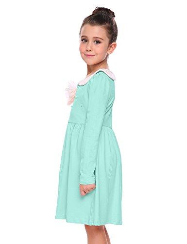 Arshiner Little Girls Long Sleeve Dress Skater Flower Beads Peter Pan Collar Dress by Arshiner (Image #3)