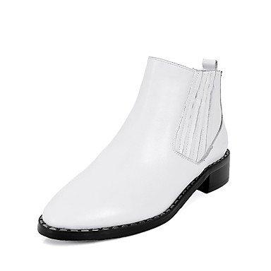 RTRY Zapatos De Mujer Cuero Auténtico Confort Invierno Botas De Moda Botas De Tacón Bajo De Bota De Puntera Redonda Botines/Botines De Gore Para Vestimenta Casual Negro US6 / EU36 / UK4 / CN36