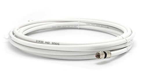 25' Feet White : Solid Copper Center Conductor, Made in the USA : RG6 Coaxial Cable (Coax) with Compression Connectors, F81 / RF, Digital Coax for Audio/Video, CableTV, Antenna, Internet, & Satellite