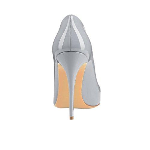 EKS Damen Zesagh Spitzschuh Sexy Slip-on 10cm Stilettos Absatz Kleid-Pumpen Grau-Lackleder