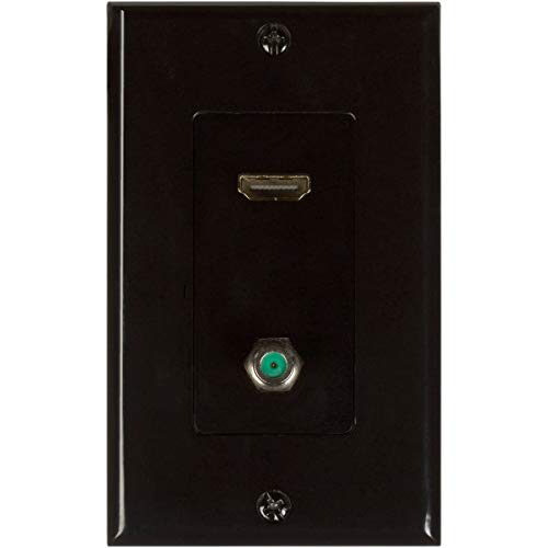 Buyers Point HDMI Pigtail 3GHz Coax Wall Plate [UL Listed] with Single Gang Low Voltage Mounting Bracket Device