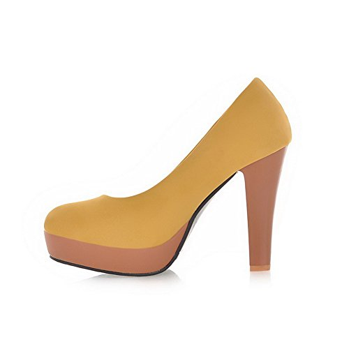 Suede Round High Closed Womens Yellow Pumps Shoes AmoonyFashion Pull Solid Toe Imitated on Heels wUnpYSq
