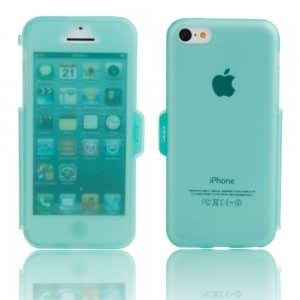 Transparent Frosted TPU Protective Case w/ Cover for iPhone 5C Cyan