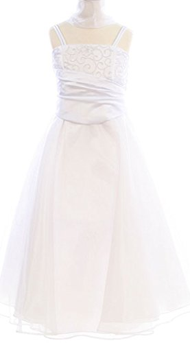 BNY Corner Flower Girl Dress Corset Back White 14 HC1568
