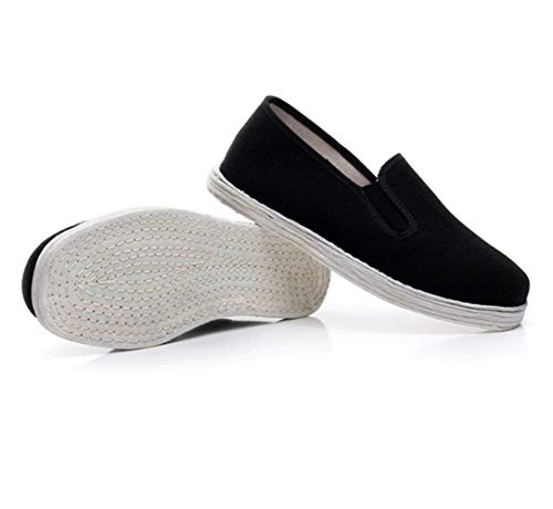 Unisex Kung Fu Tai Chi Shoes Chinese Traditional Handicraft Pure Cotton White Sole (Black)