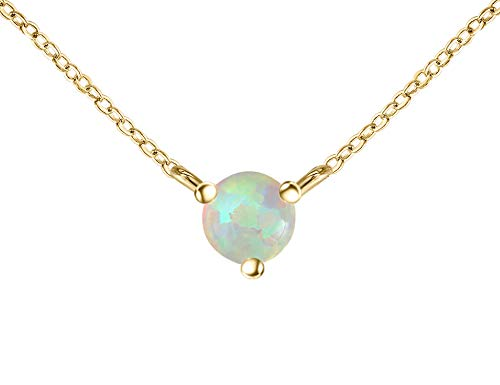 14k Gold Opal Pendant - QUINBY Delicate Necklace Opal Pendant in 14k Yellow Gold
